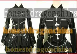 Gothic Lolita Punk Cosplay Costume black Jacket skirt Tie all size