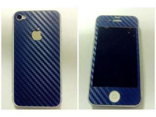 Blue Carbon Fiber Vinyl Skin Sticker Cover Protector For Apple Iphone