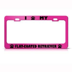 Flat Coated Retriever Dog Pink Metal License Plate Frame Tag Holder