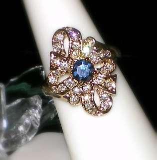 VINTAGE SAPPHIRE BLUE RING~SWAROVSKI CRYSTAL~SZ 8~NEW