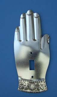 Shiny Tin Milagro Hand Switchplate Cover   Mexico
