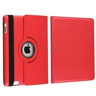 ° Rotating Magnetic Leather Case Hard Cover Swivel Stand Red