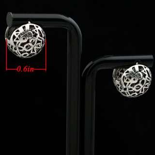 Exquisite Tibetan Silver Hollow Ball Hoop Earrings New