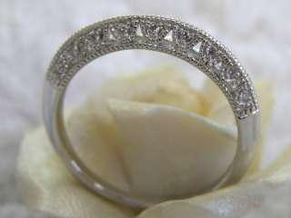 WHITE GOLD DIAMOND WEDDING BAND FILIGREE DECO RING   DIAMONDS