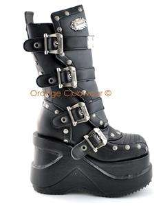 DEMONIA Womens Cyber Goth Punk 5 Platform Boots Shoes