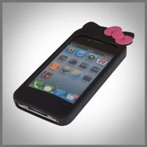 Black Hello Kitty w Ears & Bow Flexa silicone case cover