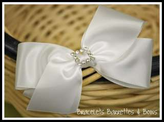 Large White Satin Hair Bow with Rhinestone Flower Girl