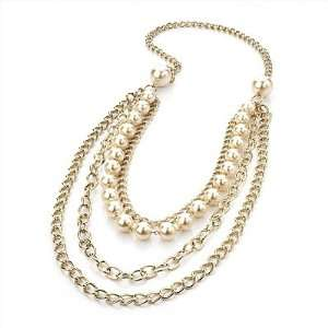 4 Strand Long Pearl Style Gold Plated Necklace  104cm