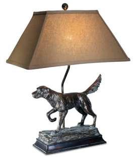 HUNTING DOG TABLE LAMPS (2) RUSTIC LODGE HUNTER LAMP 781366368293
