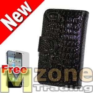 Black Crocodile Leather Wallet Case Cover for iPhone 4 4S + Screen