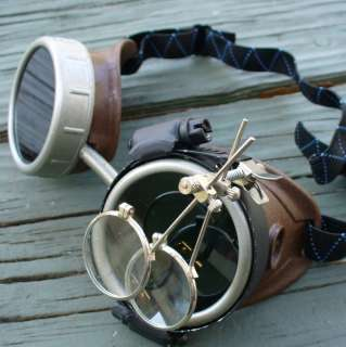 Steampunk Goggles Glasses cyber lens goth brown silver