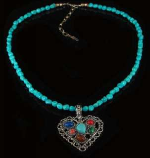 Sterling Silver Multi gemstone Turquoise Heart Necklace