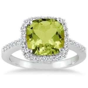 Cushion Cut Peridot and Diamond Ring 14K White Gold SZUL