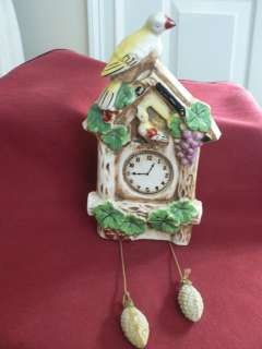 VINTAGE CUCKOO CLOCK WALL POCKET BLUE BIRDS 4137 JAPAN