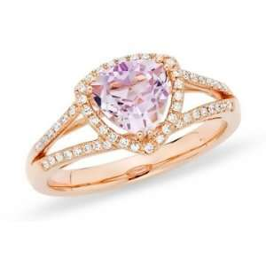 1 1/4 Carat Pink Amethyst & Diamond 14K Rose Gold Ring Jewelry