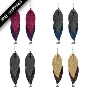 Color Oversize Thin Metal Feather Dangle Earring Set Purple Grey