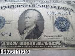 US 1934 D 1934D $10 TEN DOLLAR BILL SILVER CERTIFICATE BLUE SEAL NOTE