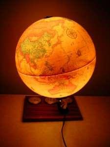 Vtg. DENMARK WORLD SCAN GLOBE LAMP/LIGHT w/ WEATHER GUAGES EXCELLENT