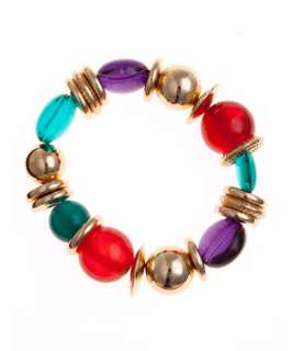 null (Multi Col) Bright Bead Stretch Bracelet  243707699  New Look