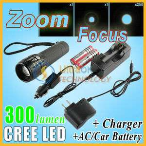 focus CREE Q5 LED 300l Flashlight Torch+AC/Car charger/holster+BATT