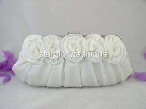 Fabulous White Roses Pleated Wedding Clutch Rhinestone