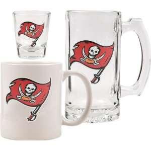Tampa Bay Buccaneers Glassware Set 3D Logo Tankard, Coffee Mug, Shot