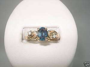 Blue Zircon Diamond Ring Yellow Gold December