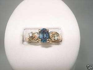 Blue Zircon Diamond Ring Yellow Gold December