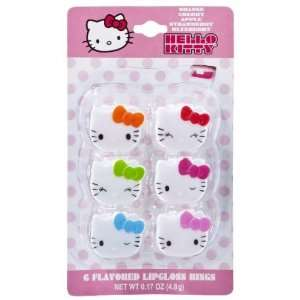 Kitty Multi colored Lip Gloss Rings   6 Pack