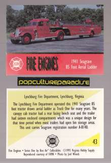 1941 SEAGRAVE 85 AERIAL LADDER FIRE TRUCK ENGINE CARD Lynchburg