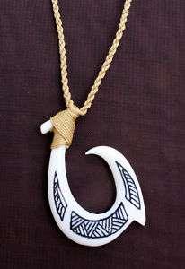 NEW Hawaiian Hawaii Jewelry Tribal Fish Hook Bone Carved Necklace
