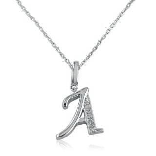 Sterling Silver Alphabet Initial Letter A Diamond Pendant Necklace (HI