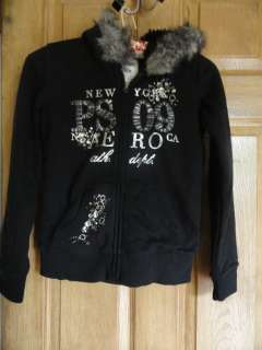 From Aeropostale Girls Faux Fur Lined Hoodie with Jeweled Front