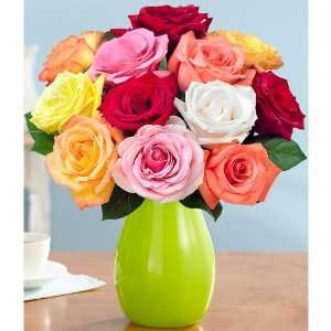 One Dozen Rainbow Roses:  Grocery & Gourmet Food