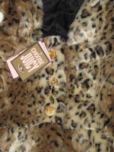 NWT JUICY COUTURE GIRLS FAUX FUR LEOPARD HOODED VEST BIG GIRLS SIZE