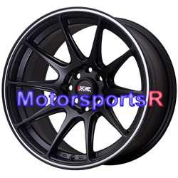 16 16x8.25 XXR 527 Black White Stripe Rims Concave Wheels Stance 4x100