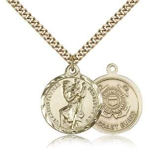 Gold Filled St. Saint Christopher Medal Pendant 7/8 x 3/4