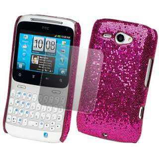 HOT PINK GLITTER CASE COVER+SCREEN FILM FOR HTC CHACHA