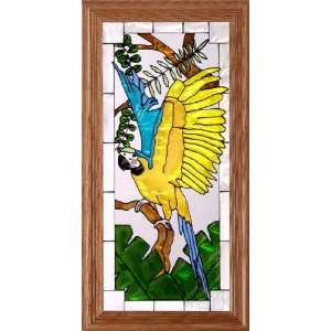 Blue Gold MACAW PARROT Suncatcher Window 11x22 Glass Panel