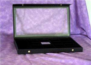 CLEAR TOP 20 ZIPPO LIGHTER WOOD DISPLAY CASE BLACK