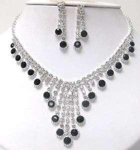 Black Crystal & RHINESTONE NECKLACE SET Costume Jewelry