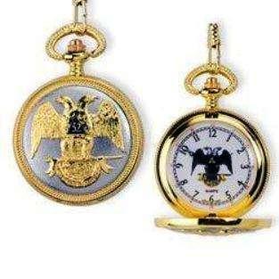 MASONIC GOLD DOUBLE EAGLE SCOTISH RITE FREEMASON WATCH