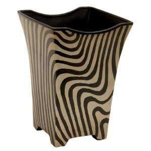 Zebra Striped Ceramic Waste Basket / Planter Patio, Lawn & Garden
