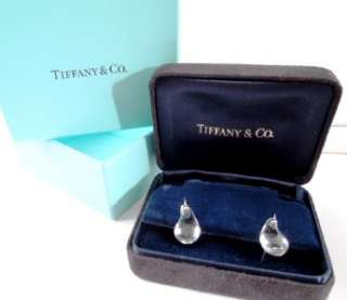 Tiffany PERETTI Crystal Platinum TEARDROP Earrings  Tiffany Suede