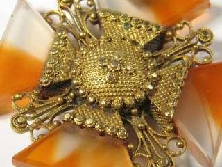 ANTIQUE GEORGIAN GOLD AGATE MALTESE CROSS PENDANT c1800