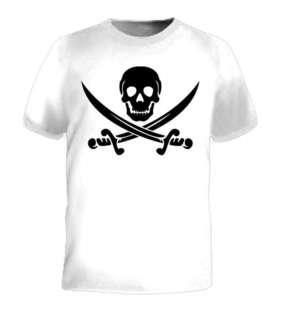 Skull Pirates Flag Knife Sword Death Retro Logo T Shirt