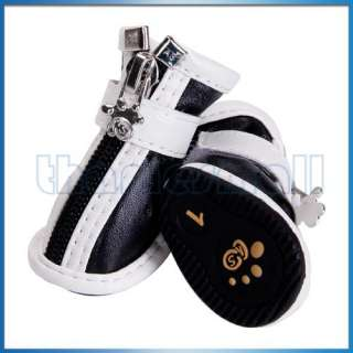 Black White New Pet Dog Mesh PU Leather Shoes Boots #1