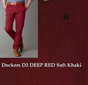 DOCKERS Mens D3 CABERNET RED Classic Fit Soft Khaki pants 30 32 36 38