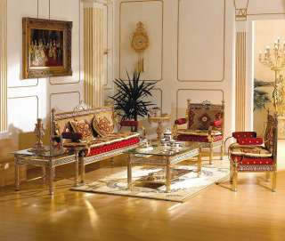 Sofa Set   24 kt Gold Plated Sofa with 2 Chairs   Italian Fabric Sofa