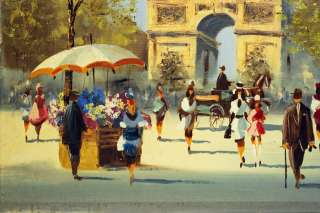 VINTAGE PARIS STREET SCENE OIL PAINTING BERTE FRANCE